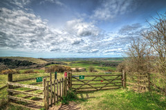Miles and miles , The South Downs (stevemiller888) Tags: sky grass clouds countryside spring nikon gate fields miles