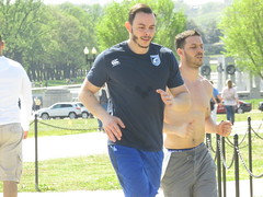 IMG_0647 (FOTOSinDC) Tags: shirtless man men muscles muscle candid handsome running sweaty sweat shorts jogging runner tee jogger