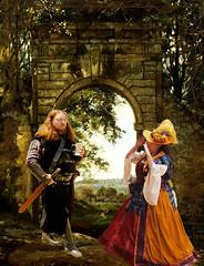 Lady at gate (susancvineyard) Tags: lady painting costume cosplay medieval renaissance renaissancefaire preraphaelite ladyatthegate