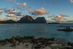 Sunset on Lord Howe Island (NettyA) Tags: light sunset sky beach water clouds landscape boats sand rocks australia nsw unescoworldheritage lordhoweisland thelagoon 2016 lhi mtgower mtlidgbird lordhoweforclimate
