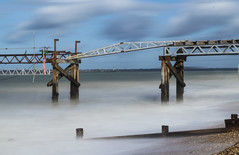 DSD_5618 (alfiow) Tags: longexposure beach pier waves totland hurstcastle