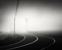 San Diego : foggy road (William Dunigan) Tags: san diego ramona east county mountains foothills black white photography low light fog foggy rural countryside sunrise morning early sunlight landscape southern california