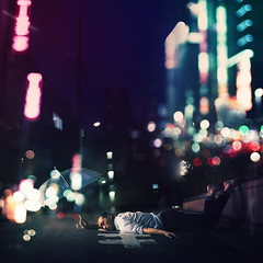 Happy Hour (Simon McCheung) Tags: life city portrait japan drunk happy lights tokyo asia neon bokeh sleep shibuya dream tired hour future concept unbrella hardship