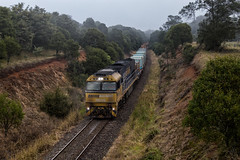 "2016-05-21 Pacific National NR58 Robertson 2920 (Dean ""O305"" Jones) Tags: mist fog train highlands pacific steel au australia southern national newsouthwales damp robertson 2920 steellink nr58"