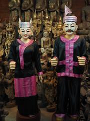 Mat statues in shop, Mandalay, EM1 (malithewildcat) Tags: burma myanmar mandalay marionette shopdisplay matstatues