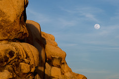 Fly Me To The Moon (dmj.dietrich) Tags: california sunset moon mountains nationalpark rocks outdoor joshuatree moonrise bluehour magichour goldenhour landsc