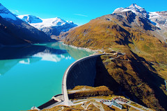 Mooserboden Reservoir (andrius.v) Tags: blue mountains water reservoir powerplant kaprun hydroelectricity stauseemooserboden