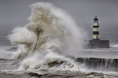 Seaham Lighthouse, Co Durham (DM Allan) Tags: lighthouse storm coast high waves durham harbour seas seaham