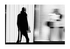 Motion in Frankfurt (Fotograf aus Passion.) Tags: street city travel light portrait urban blackandwhite white motion black art silhouette night germany dark de deutschland europe fuji hessen frankfurt main fineart streetphotography illuminated fujifilm monochrom slowshutterspeed motions frankfurtam xt1 alexharbich