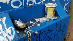 choose your vice (SqueakyMarmot) Tags: vancouver dumpster graffiti alley mainstreet chinatown icecream drugs benandjerrys strathcona needles cigarettebutts backlane