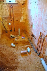 plumbing in progress (Ian Riley) Tags: hot cold water bathroom diy plumbing pipe mixer australia drain installation copper adelaide sa renovation sewer southaustralia drainage ownerbuilder eldratrilla
