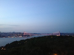 stanbul (omersvn) Tags: bridge blue light tree green turkey amazing istanbul bosphorus uploaded:by=flickrmobile flickriosapp:filter=nofilter