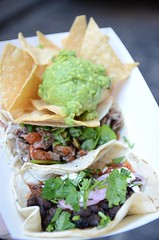 Beef, black bean taco, corn chips and guacamole AUD15 - close - Taco Truck at Melbourne Central (avlxyz) Tags: food avocado beans fb beef mexicanfood chips taco guacamole carne blackbeans tortilla streetfood tacotruck