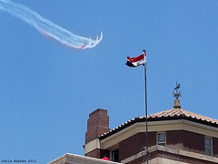 #30June 2013 Rebel    #egypt (Sierragoddess) Tags: military jets egypt egyptian flag trails planes city cairo tahrir revolution 2013 rebellion contrails skywriting frommybalcony