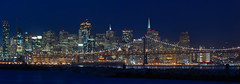 other places only make me love you best (pbo31) Tags: sanfrancisco california blue panorama color silhouette skyline night dark bay nikon october large panoramic baybridge bayarea eastbay transamerica d200 80 alameda stitched alamedacounty 2013
