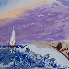 Sailing into a purple sunrise - Abstract Poured Painting (micheal.raven1) Tags: abstractseascape abstractbutterflies abstractpouredpainting abstractpouredpaintings