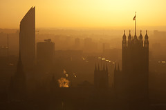 Parliament morning silhouette (London From The Rooftops) Tags: city morning autumn light house west london westminster silhouette sunrise dawn view parliament strata end rise elephantandcastle