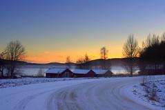 First snow (Kalsjon) Tags: winter sunset lake snow landscape sweden sverige boathouse jmtland nordicsunset gll