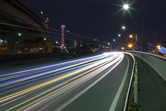 Vehicle Light Trails (DigiPub) Tags: yokohama marinetower  lighttrail    vision:sky=064 vision:car=0554 vision:outdoor=0772