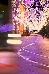 Navidad en Sevilla (tiritaxs) Tags: christmas street pink winter espaa adorno color colour yellow night ball lights luces noche calle sevilla andaluca spain fiesta decoration rosa ciudad christmastree amarillo townhall invierno ayuntamiento garlands