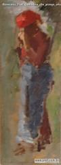 Romualdo Prati Contadina che piange olio su tavola 26x9,5cm Collezione privata