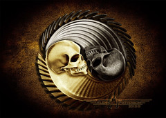 Skull Yin Yang (gmp1993) Tags: brown texture yellow photoshop silver skulls skull gold 3d cool awesome glenn yang patterson yin brass zbrush gmp1993