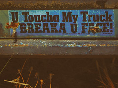 Breaka (Chains of Pace) Tags: newmexico abandoned sign truck vintage sticker retro bumper
