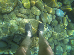 Underwater Riviera (_Codename_) Tags: italy feet beach shoes rocks honeymoon underwater ryan cinqueterre riomaggiore gopro sanuks goprohero3