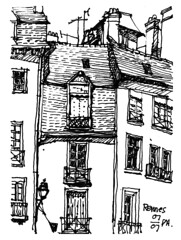 France 00018 (panda1.grafix) Tags: france sketch rooftops feltpen renes