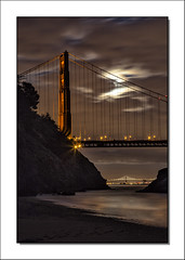 Golden Gate Nightfall (Randall Beetle Photography) Tags: california longexposure bridge usa clouds reflections golden gate sausalito nightfall