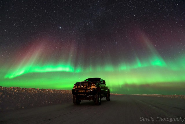 road winter sky snow canada cold ford ice night truck stars landscape photography lights nikon northwest diesel space north arctic aurora astronomy february northern climate astrology territories nighthawk borealis f350 2014 tuktoyaktuk savillent d800e