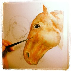 Progression photo of a special horse and woman watercolour painting.  #horselove #horsesofinstagram #watercolourpainting #lovehorses (Bumble Bee - LOVE YOU YUKON, YOU ARE IN A BETTER P) Tags: square squareformat lordkelvin iphoneography instagramapp uploaded:by=instagram
