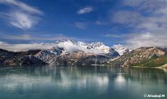 Johns Hopkins Glacier in Alaska (AlaskaGM) Tags: blue sea summer sky usa cloud mountain snow ice nature water alaska nationalpark tide sunny panoramic glacier fjord glacierbay margerieglacier