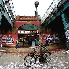 Hamburg (aha42 | tehaha) Tags: street people woman man germany metro hamburg mcdonalds squareformat squarecrop 500x500 bucycle nikoncapturenx2 nikond7000 samyangae8mm135asphericalifmcfisheyecs