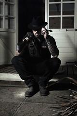 John (hewitt.sophia) Tags: man tattoo night jon gun shift obsession cigar porch protect