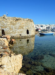 The Old Fort (jenni747) Tags: water reflections harbour fort greece paros bej