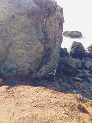 Naz and his boulder. (jenschuetz) Tags: ocean california beach nature outdoors rocks waves hiking marin bouldering westcoast stinsonbeach stinson uploaded:by=flickrmobile flickriosapp:filter=nofilter
