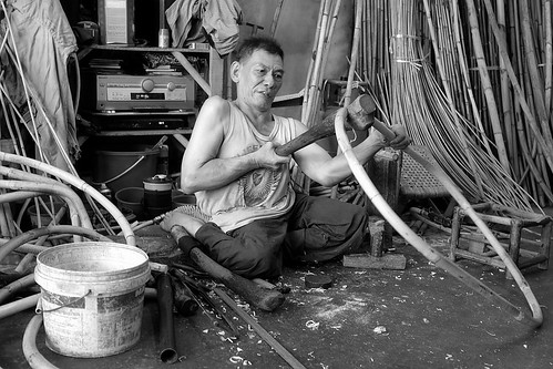 The Man Making Rattan Furniture