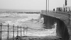 British Summer Time at Porty 04 (byronv2) Tags: sea blackandwhite bw storm monochrome river coast scotland blackwhite spring edinburgh waves path stormy coastal promenade portobello firthofforth riverforth edimbourg britishsummertime rnbforth