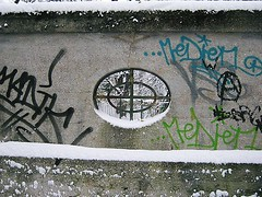 A Wall With A View, Munich, Bavaria, Germany. (westport 1946) Tags: winter snow germany munich deutschland graffiti