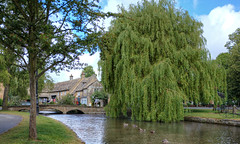 A Bridge Over Shallow Waters (Non Paratus) Tags: uk england sky water clouds river sunny cotswolds gloucestershire willow bourtononthewater riverwindrush