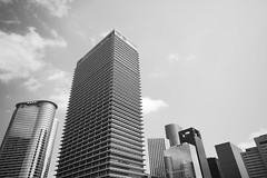 (eflon) Tags: sky bw monochrome skyline mono downtown texas skyscrapers tx houston wideangle bldg exxon bldgs exxonmobile
