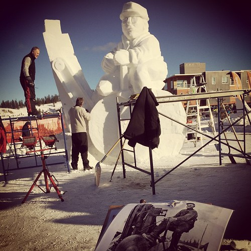 Team Manitoba works on their #Yukon style snow carving in 1C temperatures at Sourdough Rendezvous #yxy #winter #festival