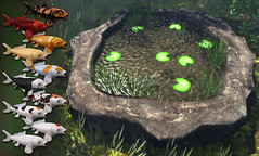 JIAN Koi Pond (We  Role-play) ([JIAN]) Tags: fish nature water outdoors pond backyard waterlily mesh secondlife koi decor