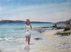 Mar y mujer (P.Barahona) Tags: mar mujer playa sombrilla acuarelas