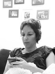(urish) Tags: pictures portrait bw home phone sofa