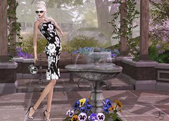 Spring Flowers (Jamee Sandalwood - Miss V SWEDEN 2015) Tags: park sexy floral garden outside photo blog model shoes 500v20f dress outdoor blogger chick sl secondlife virtual pixel blonde casual chic handbag sundress artphotography slfashion amarelomanga fashionartphotography sunglassesx