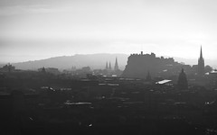 Edinburgh Skyline (ShinyPhotoScotland) Tags: camera city light urban blackandwhite mist art nature monochrome beautiful weather silhouette fog composition vintage lens landscape photography scotland haze edinburgh moody emotion affection unitedkingdom places equipment filter zen dreamy balance backlit moment stark awe striking oddity toned breakingrules contrasts imposing contrejour lothian lightanddark elegance salisburycrags shapely radicalroad haar transience gbr delusionsofgrandeur digikam olympuspenf skyearth rawconversion rawtherapee digitalred olympus1260mmf28 mankindnature
