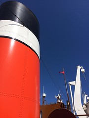 Day out on the Waverlev paddle-steamer (markshephard800) Tags: blue red scotland boat ship glasgow bluesky contrasts funnel waverley paddlesteamer
