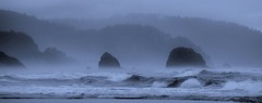 Cannon Beach - Explore (RWGrennan) Tags: ocean travel trees sea beach monochrome oregon forest silver point mono nikon nw waves pacific northwest ryan or hill cyan wave stack cannon grennan d5100 rwgrennan rgrennan